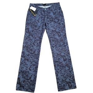 Just Cavalli Blue & Black Floral Jeans Sz 31